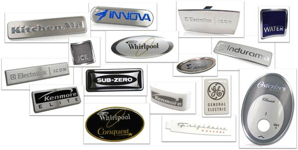 appliance nameplates and badges