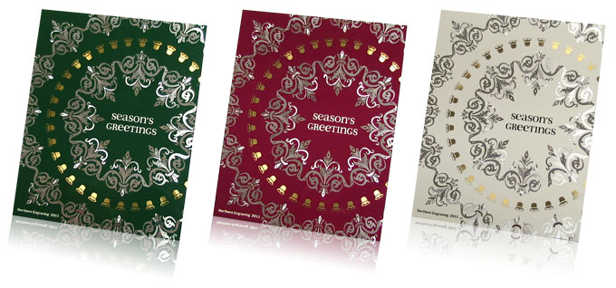 aluminum holiday card color variations