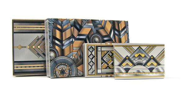 art deco aluminum matchboxes