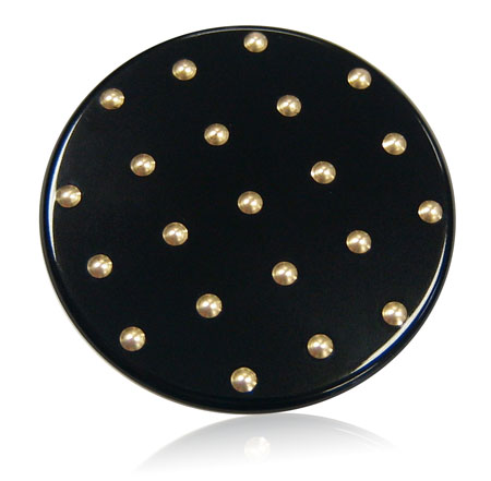 gloss black compact insert with embossed gold details
