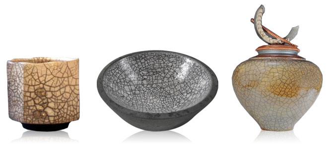crackle glazed pottery