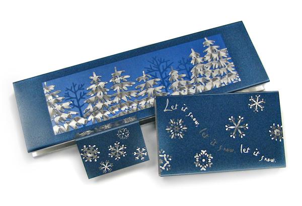 snowman and snowflake metal matchbox grips