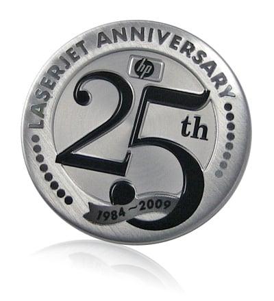 HP 25th anniversary aluminum badge