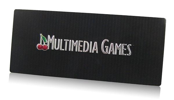 embossed aluminum nameplate with custom pattern background