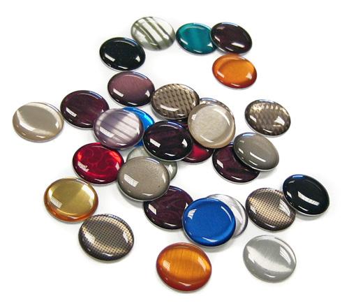 domed aluminum jewels