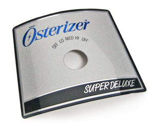 Osterizer Super Deluxe metal nameplate