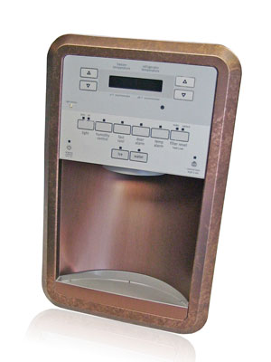 copper patina ice and water dispenser