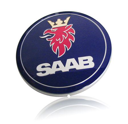 Saab aluminum enigne cover nameplate