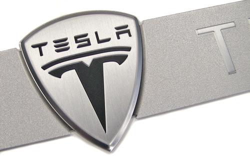TESLA MOTORS | metal nameplate detail
