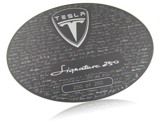 Tesla Motors Signature 250 series nameplate