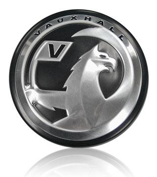 Vauxhall underhood aluminum badge