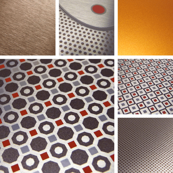 Unexpected Surface Collection | Technical patterns combined with brushed metal.
