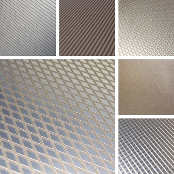 Infusion Surface Collection | textured pinstripes and diamond patterns on aluminum