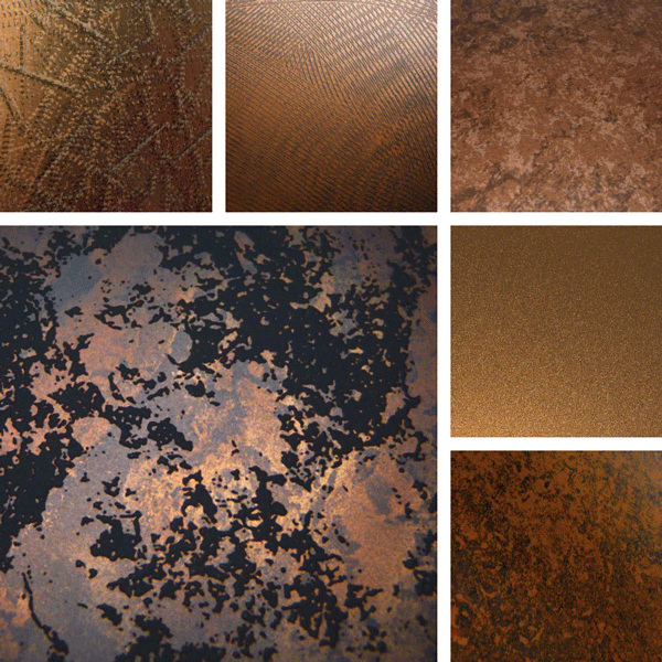 Contemporary Aged Surface Collection | Copper and amber patinaed metal surfaces