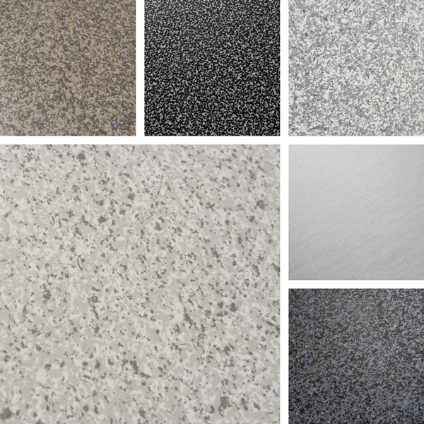 Assorted Surface Collection | Faux stone and granite finishes on aluminum