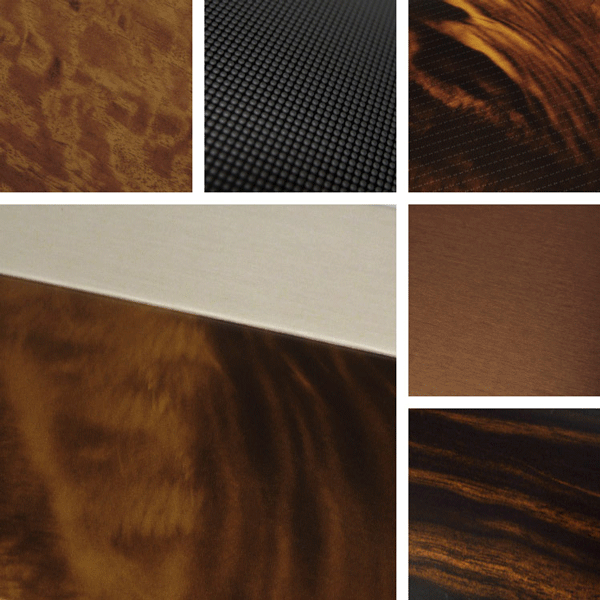 Style Surface Collection | brushed aluminum combines with texture and woodgrain looks