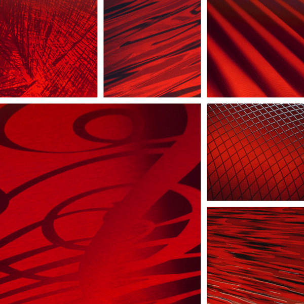 inspiRed Surface Collection | transparent red tones on aluminum