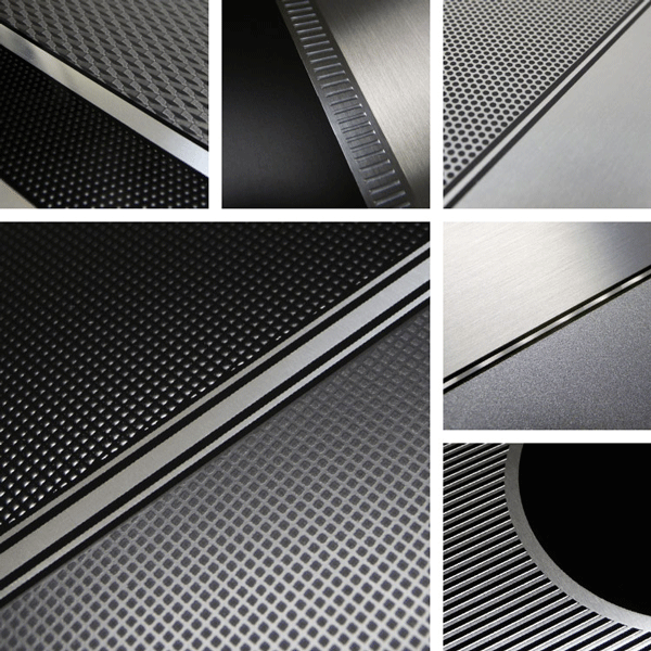 MoveUp Surface Collection | Simple geometric textures and brushed aluminum