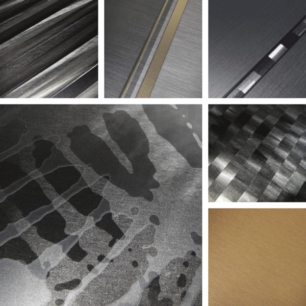 Invincible Surface Collection | Metal patterns featuring layers of brush and colors