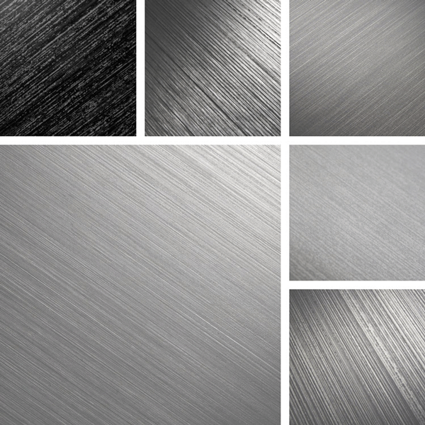 BrushUp Surface Collection | Variations in fine and coarse brushed texture on aluminum