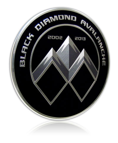 Exterior Automotive Badge, molded aluminum, crisp graphics for aluminum nameplate