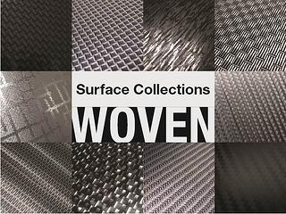 Woven and carbon fiber patterns on aluminum