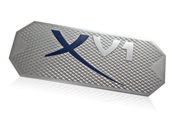 brushed aluminum nameplate enhanced with dimensional pattern