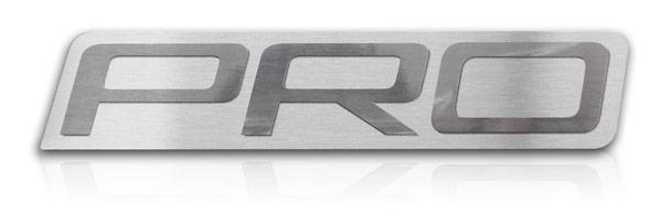 brushed aluminum nameplate with halftone border