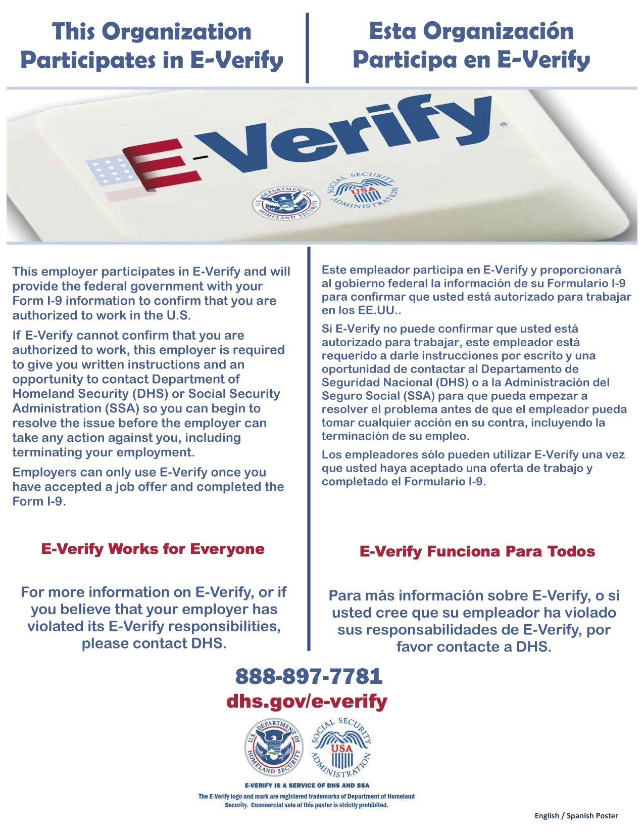 E-Verify Poster (English_Spanish)