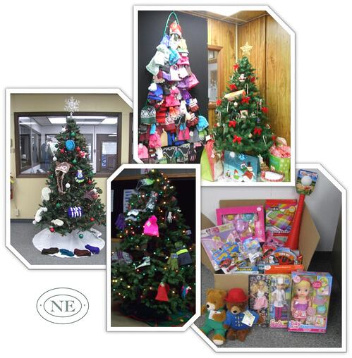 Northern Engraving employees collect hats and mittens and toys for local charities
