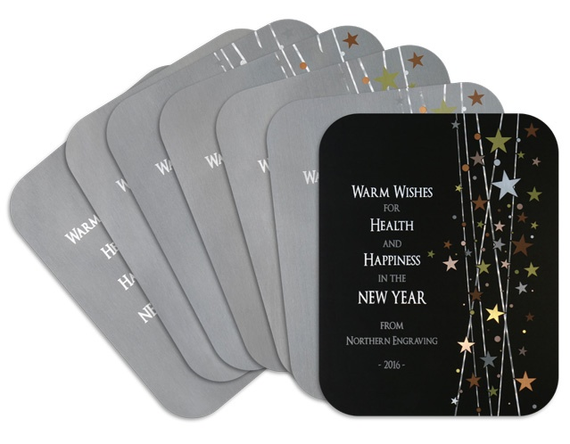 2016 Metal Holiday Card features matte black background and shimmering tints of color