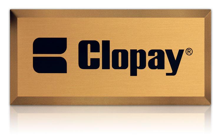 beveled edge nameplate with brushed aluminum