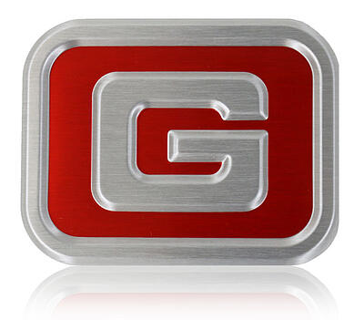 Embossed exterior aluminum badge Gravely UTV grille badge