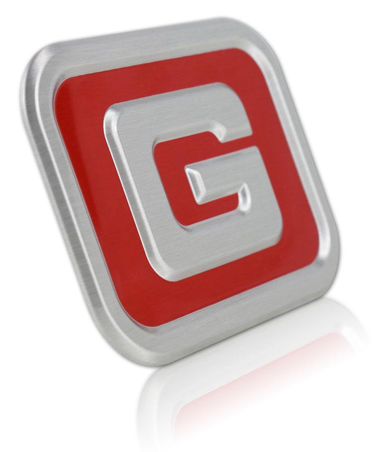 chamfered edge aluminum badge