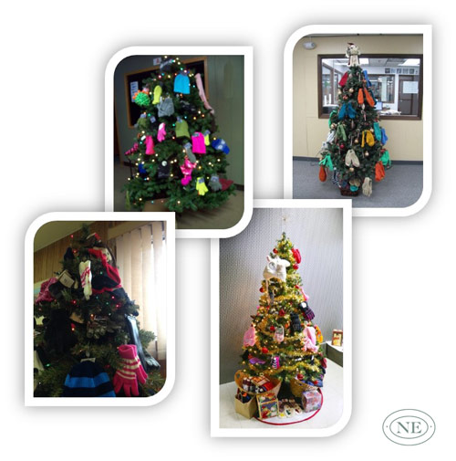 Northern Engraving employee donations for hat and mitten tree