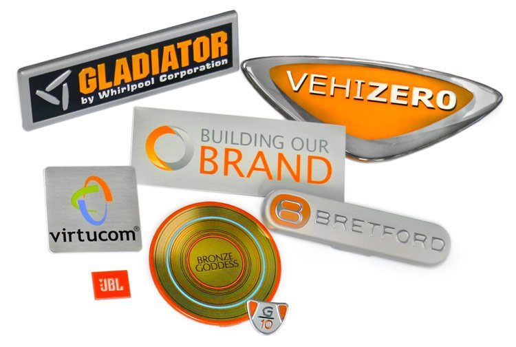 Aluminum nameplates decorated with litho printing process