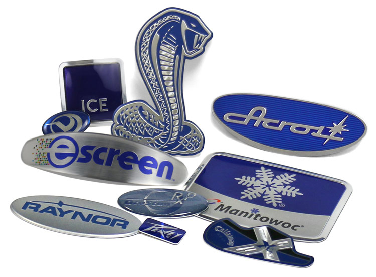 blue color decoration in aluminum nameplates and badges