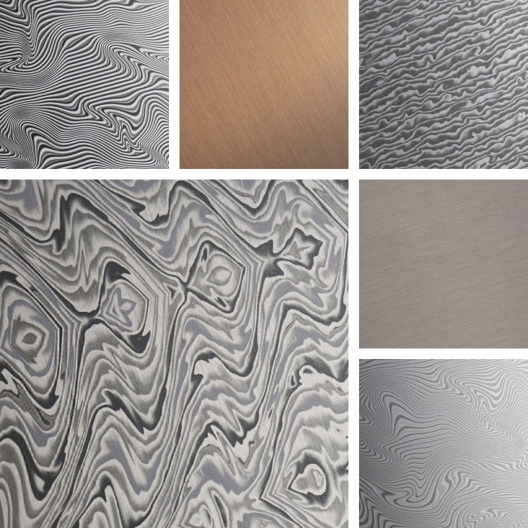 Brushed aluminum surfaces with waves and twists like damascus steel
